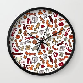 Squirrels in Fall Doodle Wall Clock