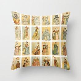 Vintage French Fashion Collage Throw Pillow