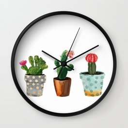 Three Cacti With Flowers On White Background Wall Clock