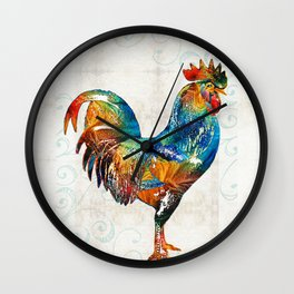 Colorful Rooster Art by Sharon Cummings Wall Clock