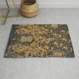 Vintage Golden Deer and Royal Crest Rug