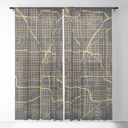 LAS VEGAS NEVADA GOLD ON BLACK CITY MAP Sheer Curtain