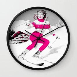Snow Bunny Pin Up Girl Pink Wall Clock
