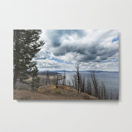 Burnt Beauty Over Yellowstone Lake - Yellowstone Metal Print