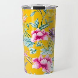 Chinoiserie mustard yellow floral Travel Mug