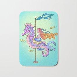Mermaid on Carousel - Ink Version Bath Mat