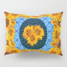 DECORATIVE  BABY BLUE ART & YELLOW SUNFLOWERS Pillow Sham