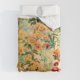 Vintage & Shabby Chic -  Sunny Gold Botanical Flowers Summer Day Comforters