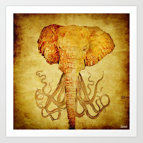 The elephant who wanted to be an octopus Art Print