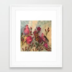 Birds and Roses - watercolor Framed Art Print