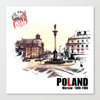 poland Canvas Prints featuring Poland, Warsaw 1890-1900 by viva la revolucion