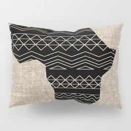 Map of Africa in Black on Beige, Ethnic Heritage, Cultural by Saletta Home Decor Pillow Sham