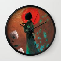 japan Wall Clocks featuring Japan by Ludovic Jacqz