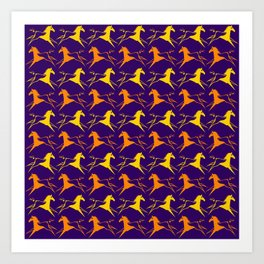 Horse Nation Purple Gold Art Print