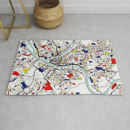 Pittsburgh City Map of the United States - Mondrian Rug