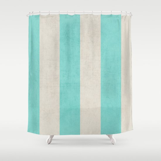 Vintage teal stripes shower curtain by her art society6 Vintage shower curtains
