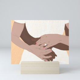 Hug, Interracial Couple Mini Art Print