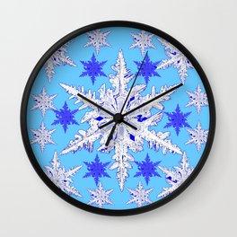 BABY BLUE SNOW CRYSTALS BLUE WINTER ART DESIGN Wall Clock