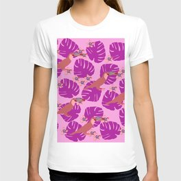 Colorful Monstera, Frangipani and Toucan Pattern Y T-shirt