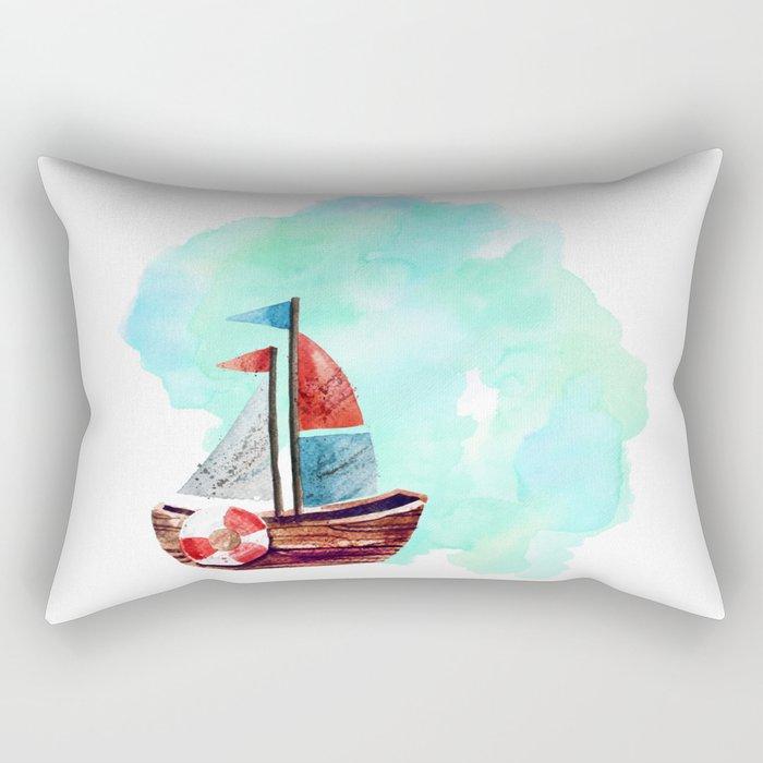 Ship in the Watercolor Rectangular Pillow