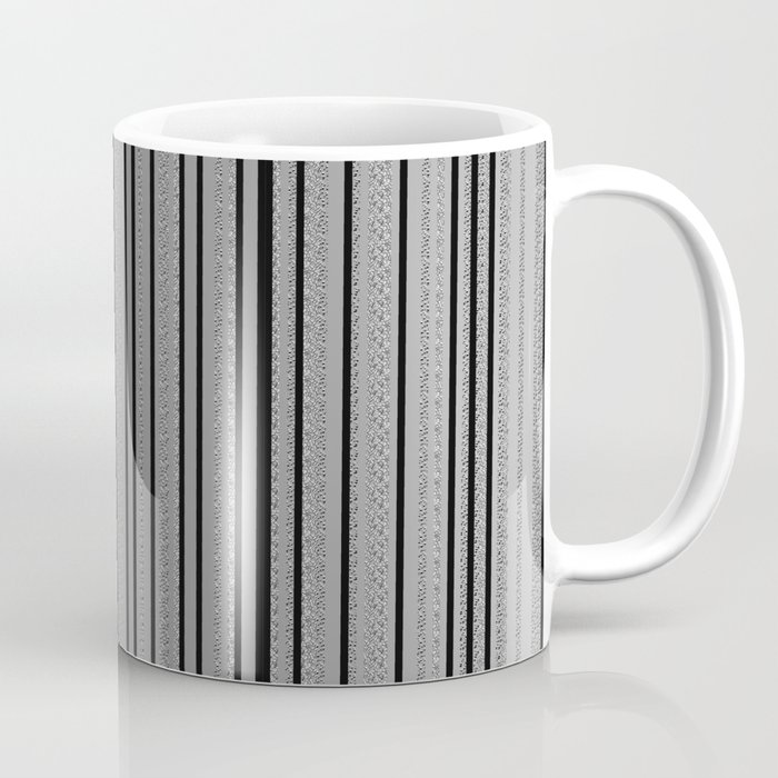 Sleek Gray Toned Stripes and Silvery Moon Coffee Mug
