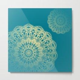 Mandala Flower Morrocan Blue Metal Print