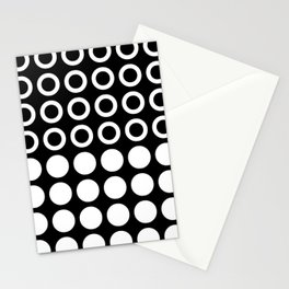 Mid Century Modern Circles And Dots Black & White Stationery Cards