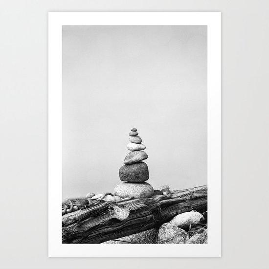 Balance of Nature peppel cairn black white Art Print