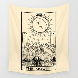 XVIII. The Moon Tarot Card on Parchment Wall Tapestry
