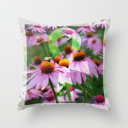 """""""Life"""" - Ankh with Purple Cone Flowers Throw Pillow"""