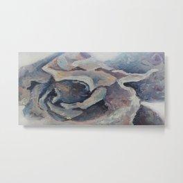 Unusual purple flower, miniature oilpainting, art Metal Print