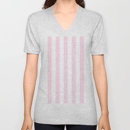 Simple Pink and White stripes, vertical Unisex V-Neck