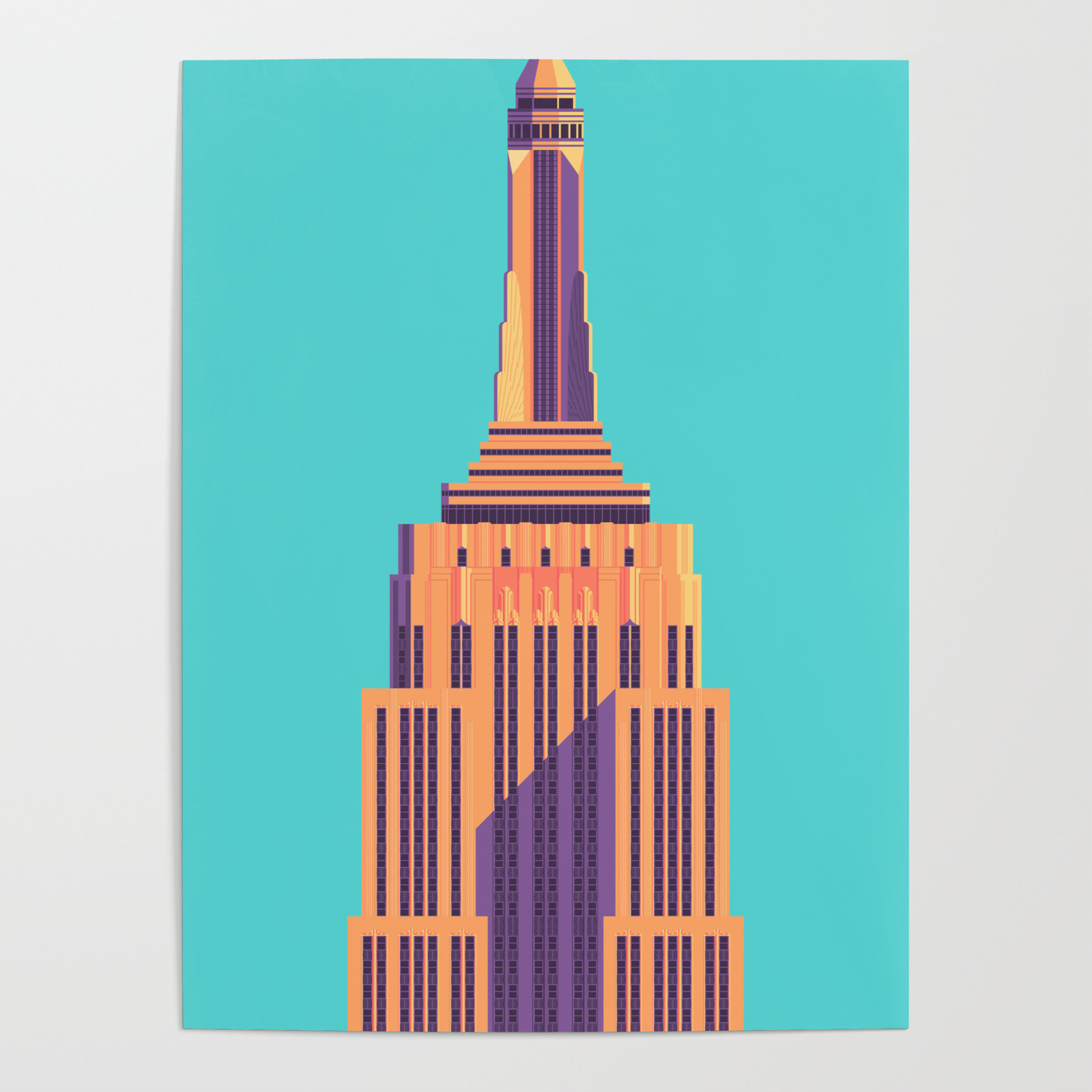 Art Deco Poster New York.Empire State Building New York Art Deco Cyan Poster By Vectordreams