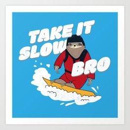 Take it Slow Bro - Funny Snowboarding Sloth Art Print