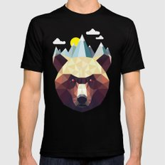 Bear Mountain  Black Mens Fitted Tee MEDIUM