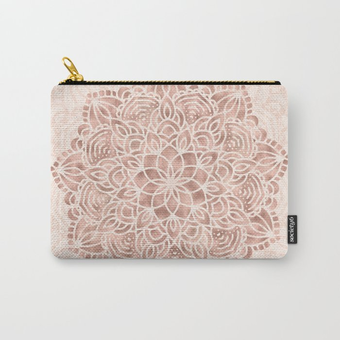 Mandala Seashell Rose Gold Coral Pink Carry-All Pouch