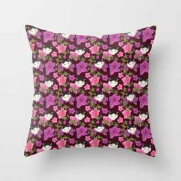 Cute Harlequin Cats and Pink Azalea on Burgundy Red  Throw Pillow