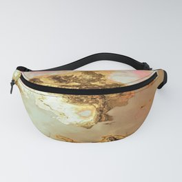 gold pink beige brown grey white abstract marbled painting Fanny Pack