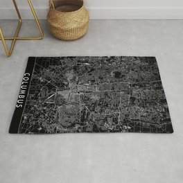 Columbus Black Map Rug