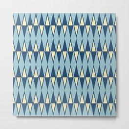 Mid Century Modern Diamond Pattern Blue 232 Metal Print