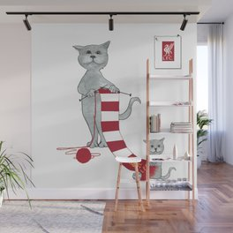 1020 Knitting Cat - Liverpool Fan Scarf Wall Mural