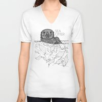 otters V-neck T-shirts featuring Sea Otter Sketch by Hinterlund
