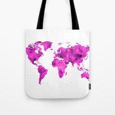 World Map Magenta Planet Tote Bag