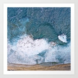 Tropical, Romantic Beach With Foamy Waves Crashing Art Print