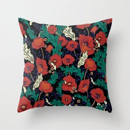Mod Floral, Red and Black  Throw Pillow