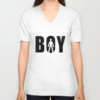 boy V-neck T-shirts featuring boy by Steffi Louis