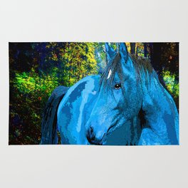 FANTASY HORSE BLUE I MET IN THE FOREST Rug