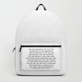She Was Beautiful, F. Scott Fitzgerald, Quote Backpack