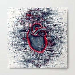 Gamer Heart BLUE CRIMSON / 3D render of mechanical heart Metal Print