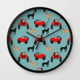 Great Dane jeep car dog breed pattern custom pet portrait Wall Clock